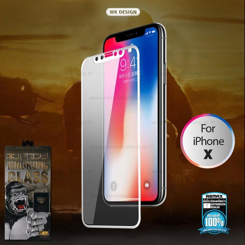 Film iPhone X/XS Full 3D (White) WTP-009 - ฟิล์มกระจก WK Tempered Glass