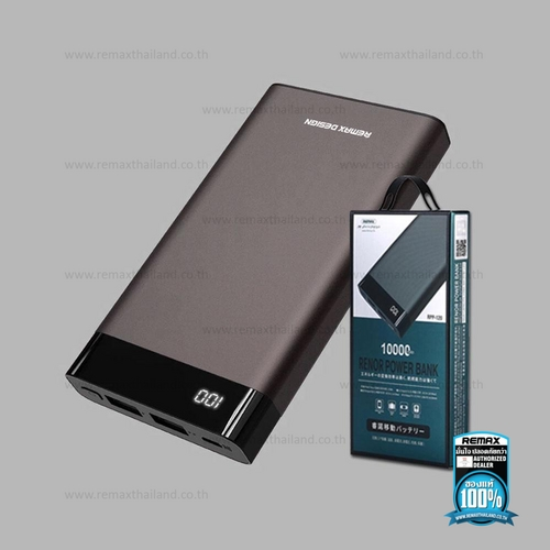 Power Bank 10000mAh (Silver,RPP-120) Renor 2USB - แบตสำรอง REMAX